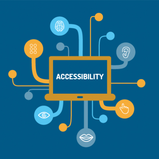 a graphic of a laptop with the words accessibility on the screen, connecting to various senses