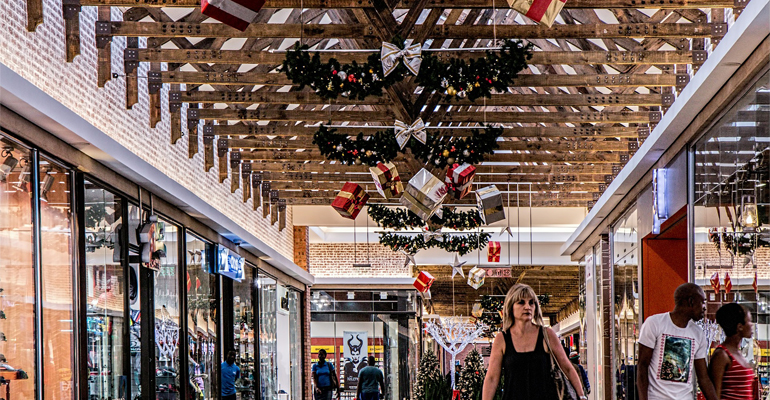Christmas time at a shopping centre