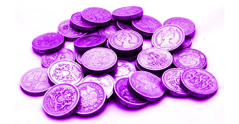 Purple pound coins