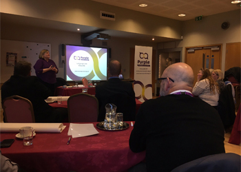 Catherine Grinyer presenting at a Purple Training course