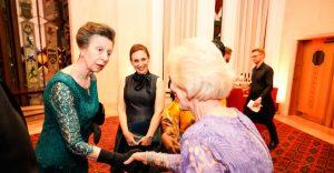 Purple board member Pat Gaudin meeting Princess Anne at the BQF Awards 2018.