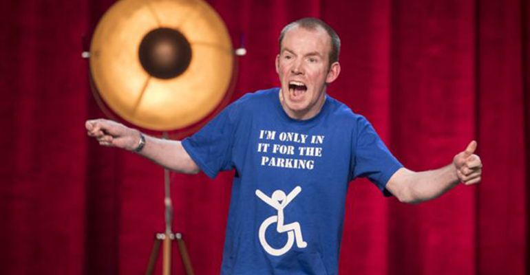 The Lost Voice Guy comedian performing at Britains Got Talent final.