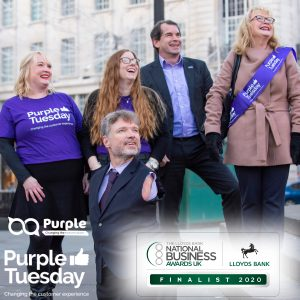 Charlene, Nikita, Mike, Phil and Dianne watching the Piccadilly Lights turn Purple for Purple Tuesday.